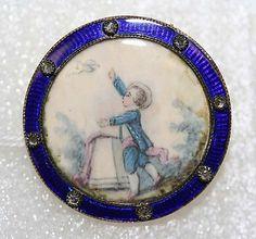 Button ivoy, metal, diamond 1785