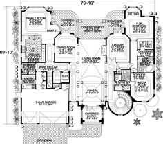 Italian Style House Plans - 8441 Square Foot Home, 3 Story, 6 Bedroom and 5 3 Bath, 3 Garage Stalls by Monster House Plans - Plan 37-198 (FLOOR 1)