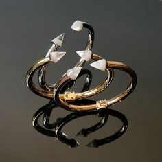 New from Vita Fede the classic Titan Bangles with natural stones!