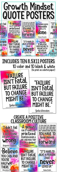 Cultivate a growth mindset in your classroom with these colorful growth mindset quote posters. Ideal for a growth mindset bulletin board or class display, these posters will help students work on improving their own mindset. Future Classroom, School Classroom, Classroom Ideas, Classroom Resources, Kindergarten Classroom, Art Classroom, Classroom Organization, Classroom Management, Behavior Management