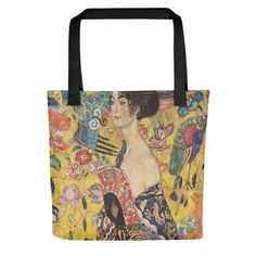 """Gustav Klimt """"Lady With a Fan"""" All Over Print Tote Bag"""