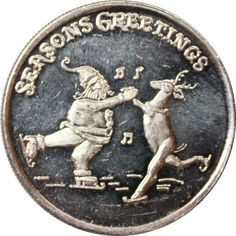 Great Deals On Seasons Greetings Santa Claus Rudolph 1 oz Silver Art Round Pure At Gainesville Coins. Securely Buy Gold And Silver Online. Gold And Silver Coins, Silver Rounds, 1 Oz, Holiday Gifts, Santa, Seasons, Pure Products, Money, Xmas Gifts