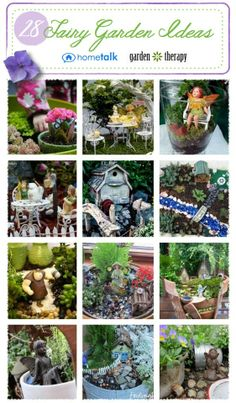 Lots of great Fairy Garden Ideas. You can get an assortment of miniature plants at your local garden center.