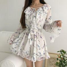 KFashion and KPop - Deringa Girly Outfits, Cute Casual Outfits, Pretty Outfits, Pretty Dresses, Beautiful Dresses, Casual Dresses, Summer Dresses, Korean Fashion Dress, Ulzzang Fashion