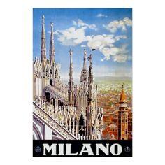 Vintage Milan Italy Travel Unique Advertisement