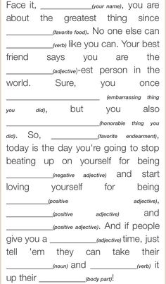 Self-Esteem Mad Lib More A damaged self-esteem can wreck your career and harm your relationships. You can turn your life around by working on your self-esteem, and this guide will give you all the resources you need. Group Therapy Activities, Self Esteem Activities, Therapy Worksheets, Counseling Activities, Group Counseling, Work Activities, Mental Health Activities, Physical Activities, Self Esteem Worksheets