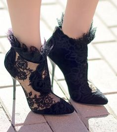Jimmy Choo Black Lace Ankle Booties by Oh My Vogue