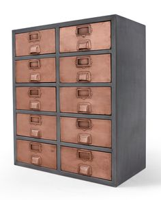 The Stow apothecary-style sideboard is updated with a little modern-industrial attitude, maintaining its lovely vintage feel with aged copper. Funky Furniture, Copper Furniture, House Furniture, Office Furniture, Furniture Ideas, Large Storage Units, Landry Room, Copper House, Hallway Colours