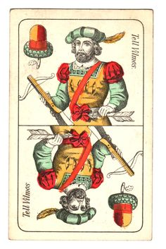 William Tell on Hungarian playing cards. Medieval Games, Crossbow Bolts, Elizabeth Bathory, William Tell, White Books, Only Play, All Souls, Tarot Readers, Deck Of Cards