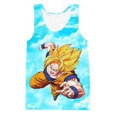 Super Saiyan Son Goku Flying in the Sky Blue Tank Top