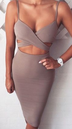 Criss cross bodycon dress. Elegant women fashion outfit clothing style apparel @roressclothes closet ideas