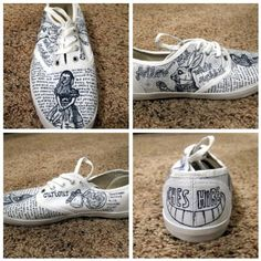 DIY Alice in Wonderland Sharpie Painted Vans Shoes Alice Shoe Collage 1 Sharpie Shoes, Sharpie Paint, Sharpie Crafts, Painted Vans, Hand Painted Shoes, Plain White Shoes, White Keds, Alice In Wonderland Shoes, Doodle Shoes