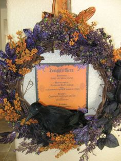 DIY Halloween Wreath- have fun with it! I love adding signs and pops of color. https://www.facebook.com/CraftyGreen