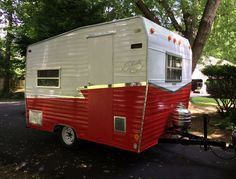 Perry Rotwein gave his Shasta Compact Camper a contemporary, stand-out design with blocks of Rust-Oleum® Universal® Gloss Spray Paint in Pure White and Cardinal Red separated by a sleek, silver vinyl decal.  Get the full tutorial