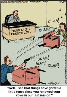 Psychology and therapy humor. Couples and marriage therapy