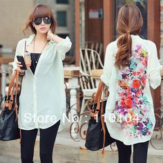 Women's Fashion Casual Flower print Chiffon shirts elegant long sleeve shirt vintage floral print long blouses loose-inBlouses & Shirts from Apparel & Accessories on Aliexpress.com