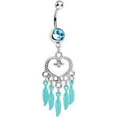 Aqua Gem Heart Full of Dreamcatcher Dangle Belly Ring | Body Candy Body Jewelry #bodycandy #dreamcatcher