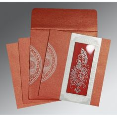 Hindu Wedding Cards, Red, Shimmer Paper, Silk Screen Printing, Hot Foil Stamping, Embossing, Paisely