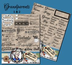 Grandparents Word Art Sentiments Digital Stamps Digi Photography Overlay Instant Download ID:NV-WA0024 By Nana Vic