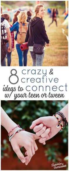 Want to connect with your teen or tween? This age can be tough, but you can still build a strong relationship with your teenager. Try these 8 Crazy and Creative Ideas to bring your closer. Teens|Tweens|Things to Do with Teenage Daughter|Things to Do with Teenage Son| Teenager| Family Activities|Relationship with Teen via @sunandhurricane