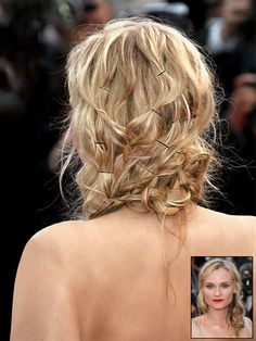 Hair inspiration: Diane Kruger's messy, pinned, textured updo with visible bobby pins | allure.com