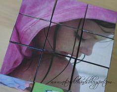 Blokken puzzel met foto's