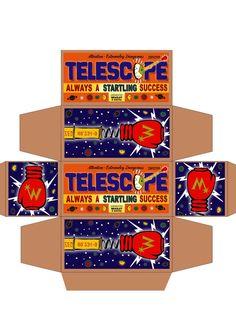 Weasley's Wizard Weezes product packaging printable: Punching Telescope!