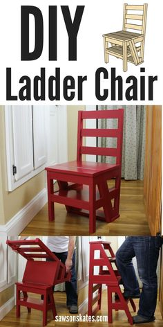DIY Ladder Chair - I'm always looking for ideas for small spaces and this one is genius! This DIY chair flips from being an extra seat to a step stool or ladder. Great for a kitchen to reach those upper cabinets. The best part is the plan is FREE!