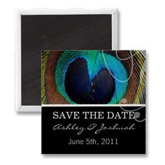 #wedding Peacock Feather Save The Date Magnets