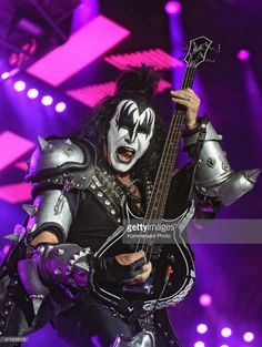 Bassist of American hard rock band Kiss Gene Simmons performs during their concert at the Olimpiysky Sports Complex on May 1, 2017 in Moscow, Russia.
