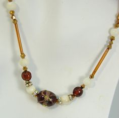 Brown vintage bugle beads with white glass and by maryjanebowen, $29.00