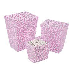 Pink Awareness Ribbon Candy Buckets