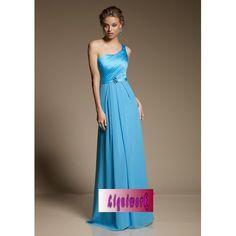 Custom Blue Petite-Plus Size One Shoulder Ball Gown Prom Evening Dresses SKU-1040119