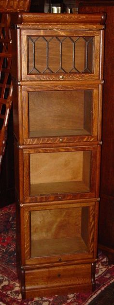 Cute Quartered Quarter Sawn Oak Half Size Barrister Bookcase Leaded Glass 15266 | eBay