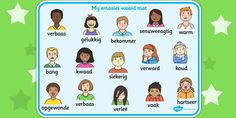 Emotions Word Card Spanish - This handy Emotions themed Spanish word mat features different emotions in Spanish. Great to keep on hand, your children can use them as an aid during independent writing activities and to expand their vocabulary. Emotion Words, Feelings Words, Feelings And Emotions, Help Teaching, Teaching Resources, Pshe Lessons, Spelling Help, Feeling Pictures, Teacher Portfolio