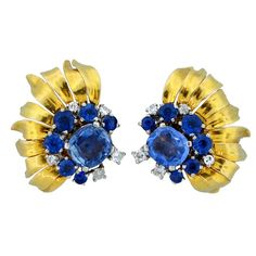 CARTIER Sapphire and Diamond Ear Clips  France  1950's