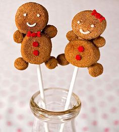 gingerkids:  marshmallows stuck together with melted white chocolate; quickly dip in water and then roll it in a mixture of 1/2 cup sugar with 2 teaspoons cinnamon and 1/2 teaspoon ginger.  Use white chocolate to attach decorations.