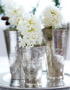 Silver and white white flowers, mercuri glass, table flowers, christmas centerpieces, mercury glass, white christmas, antique silver, antiques, glass paint