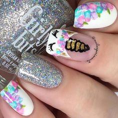 Unicorn Nails Designs, Unicorn Nail Art, Dance Nails, Nail Art For Kids, Kid Nail Art, Cute Kids Nails, Fake Nails For Kids, Cool Nail Art, Floral Nail Art