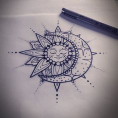 "Mel Perlman on Instagram: ""Lil solar and celestial tattoo for upcoming an appointment. #sun #sunandmoon #sunandmoontattoo #tattoo #celestialtattoo #aceshightattoos…"""
