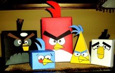 angry birds made out of old boxes and paper - nice cheap decorations