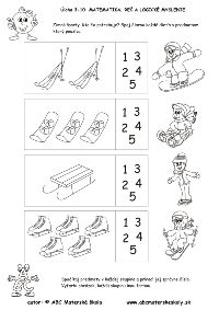 Zimné športy - kto čo potrebuje - reč, logika - pracovný list z ABC Preschool Decor, Preschool Science, Preschool Worksheets, Winter Activities For Kids, Winter Theme, Winter Sports, Sporty, Number, Pictures
