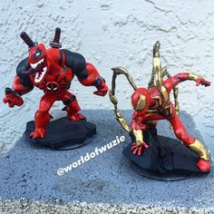 How cool would it be if Venompool and Iron Spider teamed up? Pop Marvel, Disney Marvel, Marvel Dc Comics, Marvel Heroes, Marvel Avengers, Disney Infinity Characters, Modelos 3d, Iron Spider, Custom Action Figures