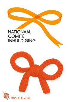 Strikje haken voor koninginnedag. Het strikje is het officiële symbool voor de inhuldiging.