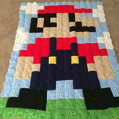 Mario pixel crochet blanket by blueanngrew | Iconosquare