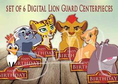 NEW 6 Lion Guard Digital Download Centerpieces for by SMMyDesigns