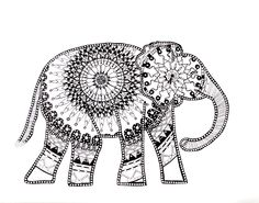 This elephant mandala drawing is hand drawn with micron pens on acid free premium sketch paper. Fine art reproduction prints available. OOAK Title: Elephant Mandala DETAILS: I spent around 20 hours dr Mandala Art, Mandalas Painting, Mandalas Drawing, Mandala Pattern, Zentangles, Elephant Life, Elephant Art, Coloring Book Art, Mandala Coloring
