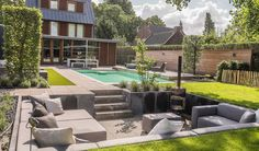 Backyard Seating, Backyard Patio Designs, Fire Pit Backyard, Garden Seating, Backyard Landscaping, Banco Exterior, Fire Pit Layout, Chill Lounge, Sunken Patio