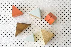 DIY geometric place card holders