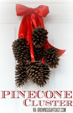 DIY Christmas Decoration ~ This is about the simplest Christmas decoration there is to make, yet it's so pretty! Simply glue pine cones onto ribbon!